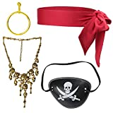 Beelittle 4 Pieces Captain Pirate Costume Accessory Set Red Head Tie Scarf Wrap Bandana Pirate Eye...