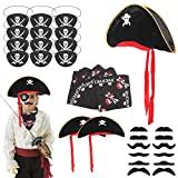 Ulikey 26 Pieces Pirate Accessories, Pirate Cosplay Sets, Pirate Hat, Pirate Eye Patch, Pirate...