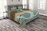 Anchor Duvet Cover and Shams Set 4pc, Timeworn Marine Symbol on Weathered Wooden Planks Rustic...