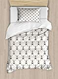 VORMOR Anchor Duvet Cover Set Twin Size, Abstract Retro Nautical Style Motif Checkered Pattern...