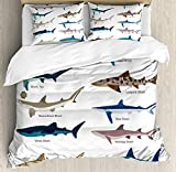 Double Size Bedding Duvet Cover Set Shark Cover Set, Types of Sharks Pattern Whaler Piked Dogfish...