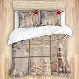XMTMR-Glass Duvet Cover Sets Bed Sheets,Beach Sea Shell Coastal Nautical Starfis,3 Piece Bedding Set...