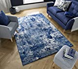 - LordofRugs - WONDERLUST TRENDY ABSTRACT SOFT RUG SMALL TO LARGE CARPET RUNNER MAT (DARK BLUE, 120...