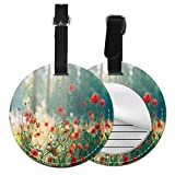Round Travel Luggage Tags,Wild Red Poppy Flowers Field Summertime Sunbeams Gardening Bedding...