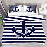 BOLIMAO 2 Pieces Nautical Anchor Themed Blue Stripes Duvet Cover Set Full Size 61'x87' Breathable...