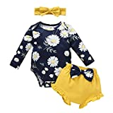 Newborn Infant Baby Girl First Birthday Outfit Newborn Coming Home Set Floral Printed Cotton Long...