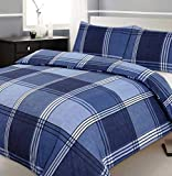 Double Bed Duvet / Quilt Cover Bedding Set Hamilton Check Blue Checked / Striped by Ashley Mills