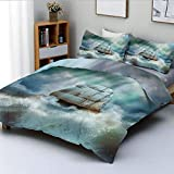 Duvet Cover Set,Majestic Nautical Sealife and Pirate Boat Ship on a Wavy Deep Sea Art...