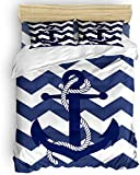 Duvet Cover Set, 3 Piece Nautical Anchor Chevron Ripple Navy White Bedding Set - 1 Quilt Cover 2...