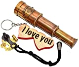 Nautical Cove Pirate Telescope Handheld Brass with Wooden Keychain for Kids, Props, and Costumes...