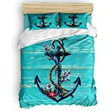 SunnyM 3-Piece Duvet Cover Set, Distressed Anchor Bedding Set - 1 Quilt Cover 2 Pillow Cases for...