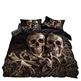 Loussiesd 3D Skull Theme Duvet Cover Set King Size Luxury Gothic Skull Bedding Set Skeleton Bones...