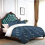 HARXISE Duvet Cover Set Full Nautical Pattern with Classic Colors and Anchors Simplistic Design...