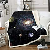 Loussiesd Universe Planet Printed Fleece Blanket Outer Space Themed Blanket Galaxy Sherpa Blanket...