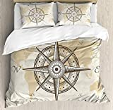 zpangg Compass Duvet Cover Set Full Size Nautical Compass on Background Old Map with Torn Border...