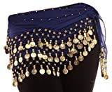 Royal Blue Belly Dance Wrap Hip Scarf Belt With Gold Coins
