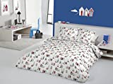 Pandoras Upholstery Happy Days Beach Huts Coastal Lighthouse Boats Seaside Fabric Quilt Duvet Cover...