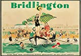 Vintage Railway Poster Bridlington Beach Seaside Art Deco Bathers Swimmers Travel Advert Print (A3)