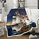 Sailboat Printed Sherpa Blanket Nautical Decor Throw Blanket for Couch Sofa Women Men Ocean Themed...