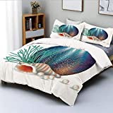 Duvet Cover Set,Underwater World with Shelled Mollusk Corals Pearls Crystalline Form Sea Nautical...