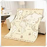 Flannel Fleece Throw Blankets for Couch and Bed, Vintage Middle Nautical Earth Map, Super Soft Comfy...