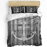 3Pieces Queen Size Bedding Sets, Nautical Anchor Rustic Old Barn Wood Duvet Cover Set with Pillow...