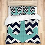 ASNIVI Washed Cotton Duvet Cover Set,Hand Drawn Nautical Anchor Print on Green White Wavy Stripes...