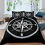 Loussiesd Ocean Nautical Duvet Cover Set 3D Compass Print Bedding Set for Kids Boys Adults Sea...