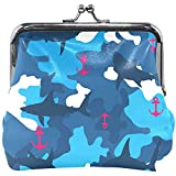Blue Camouflage Anchor Shark Wallet Coin Purses Vintage Pouch Fashion PU Leather Money Card Holder...