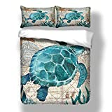 Andrui Duvet Cover and Pillowcase Set, Dolphin Turtle Seahorse Whale Octopus Pattern, Ocean Park...
