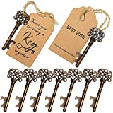 SHUNING 50Pcs Key Bottle Opener Wedding Souvenirs Vintage Beer Opener Keychain with Paperboard Tag...