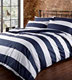 Louisiana Bedding Horizontal Navy & White Stripe Duvet Cover Set 100% Cotton 200 Thread Count-Double