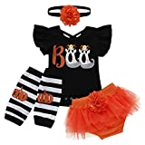 Newborn Infant Baby Girl First Halloween Outfit Boo Ghost Costume Cotton Flutter Sleeve Romper Tutu...