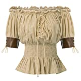 Belle Poque Women's Steampunk Off Shoulder Tops with Leather Trim Sleeve Khaki Size XL
