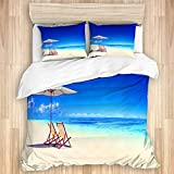 HUAYEXI bedding Duvet Cover Set,Canopy Under Sunbeams Nautical Design for Summer Season and Beach...