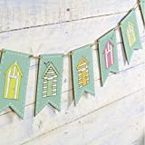 Nautical Beach Hut Wooden Bunting Garland 150cm - Seaside Nautical Accessory