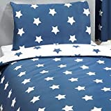 Price Right Home Navy Blue and White Stars Junior Duvet Cover and Pillowcase Set