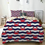 779 LIICOCO Duvet Cover Set Nautical Maritime Theme Cute Crabs on Striped Background Illustration...