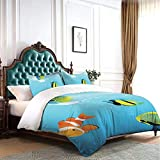 HARXISE Duvet Cover Set Ocean Nautical Navy Deep Sea Print Luxury Decorative Dorm Hotel 3-Piece...