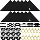 48 Pieces Captain Pirate Costume Accessories, Including Pirate Eye Patches, Pirate Bandana, Pirate...