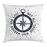 Jieaiuoo Not All Who Wander are Lost Throw Pillow Cushion Cover, Compass Wind Rose Nautical Theme...
