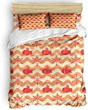 Duvet Cover Set, 3 Piece Nautical Wheel Ship Ocean Chevron Orange Bedding Set - 1 Quilt Cover 2...