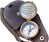 Thoreau's Go Confidently Quote Engraved Nautical Compass with Stamped Leather case, Camping Compass,...