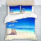 SUHOM Duvet Cover Set Canopy Under Sunbeams Nautical Design for Summer Season and Beach Houses Image...