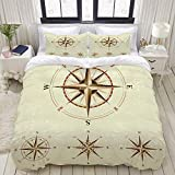 Duvet Cover,Four Different Compasses in Retro Colors Where Nautical Marine Floral,Bedding Set Ultra...