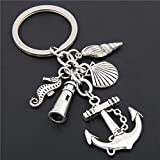 WANGWL 1pc Beach Keychain Fish Anchor Lighthouse Seashell Seahorse Charms Keyring Jewelry Summer...
