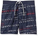 Armani Exchange Men's Lettering Game Swim Trunks, Blue (Navy/ST.EXTREAM Logo-Navy/EXTREAM Logo PR...