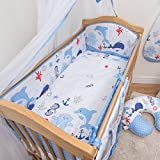 5 Pcs Baby Nursery Bedding Set, 140x70cm 420cm Long Bumper, Suits Cot Bed - Pattern 15