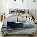 Beige Duvet Cover,Nautical Retro Classic Titanic Ship Ocean Scenery Watercolor Art,3 Pieces Quality...