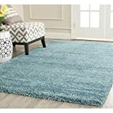 FB FunkyBuys® Modern Soft Touch Shaggy Thick Luxurious Duck Egg Blue 5cm Dense Pile Bedroom Rug...